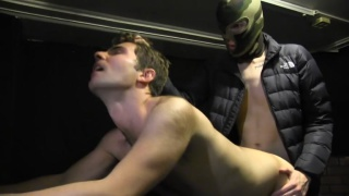 french bottom gets banged hard by masked top