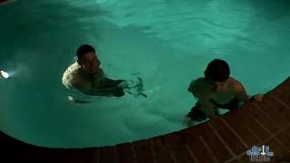 couple of horny guys enjoy a midnight skinny dip