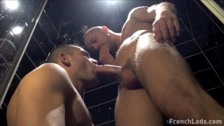 mike sucks tony's dick in the shower