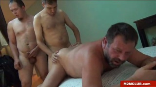 macho guys eager to break in a mature man's ass