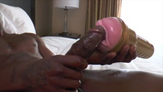 black guy fleshjacks his thick cut tool