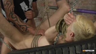 Hung chav top Tyler plays rough with his slave