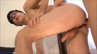 euro boy wearing glasses gets his ass fucked