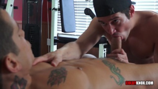 COLBY CHAMBERS fucks PIERRE FITCH in home gym