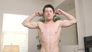 matt flexes before jacking off