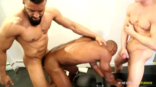 three white and black studs fuck in gym