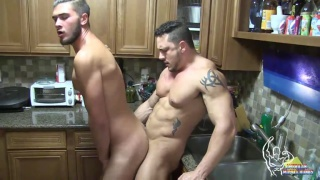 Joey D fucks Justin Dean in the kitchen