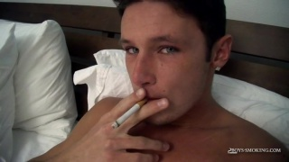 damon smokes naked in bed