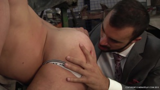 executive feasts on mechanic's beautiful ass