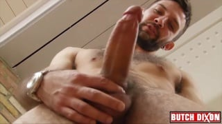sexy bearded nathan raider jacks his dick
