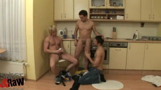 three euro boys fucking raw in the kitchen