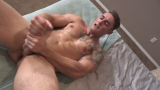 bennett jacks his big dick with both hands