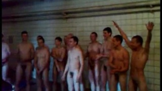 Eastern European soldiers in the showers
