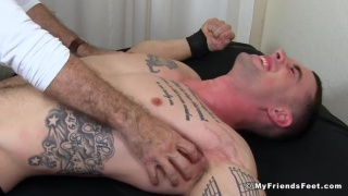 inked guy tickled til he screams