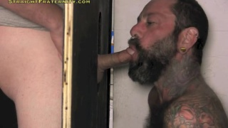 married guy gets glory hole head