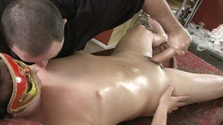 Bisexual stud gets lubed up