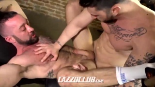 tatted hunk fucks bearded bottom in sling