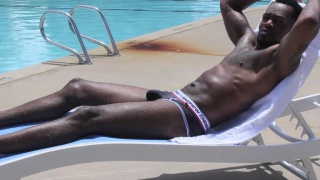 SEXY BLACK lifeguard jacks off after work