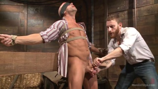 sexy cowboy gets bondage cock edging