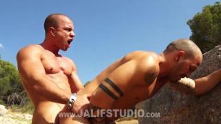 spanish sunbather fucks guy against rocks