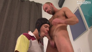 jed athens stands over mike tanner and unloads on him