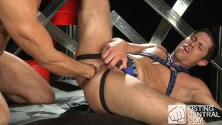 manuel jacks his uncut cock while fisting ass