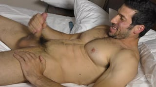 Leo Giamani stroking his big cock