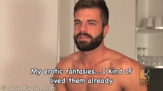 bearded hunk Hector jerks his dick