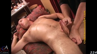 striaght hunk geoff takes a dildo on massage table