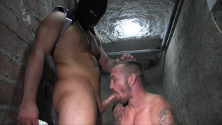 masked top raw fucks bottom on basement floor