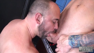 beefy bossy top fucks ass in locker room