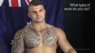 beefy inked aussie gets sucked off