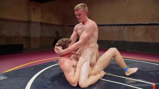 naked wrestlers Zane Anders and JJ Knight on the mats