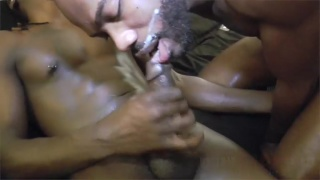 black cocksuckers slurping up every drop of cum