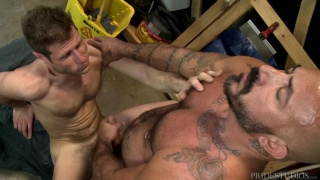 Alessio Romero fucks Luke Ewing in the wood shop
