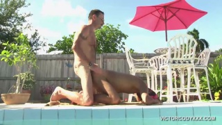 horny men in poolside bareback fuck