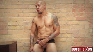 tatted bald daddy fingers his foreskin