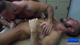 two hairy hunks fucking raw