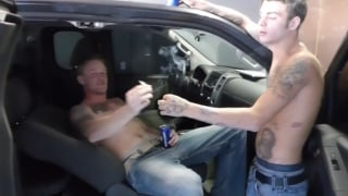 redneck guys fuck in front seat of car