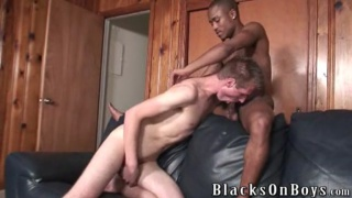 White guy fucked by young black jock
