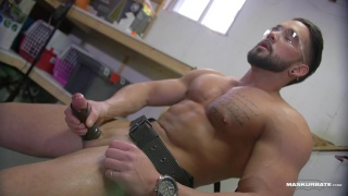 muscled handyman jerks off in the workshop