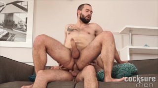 bearded bottom rides his scruffy-faced buddy