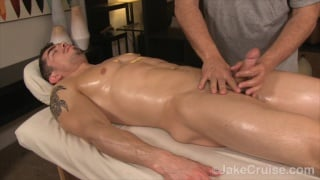Jeremy Spreadums gets serviced on the Massage table