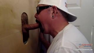 guy fucks cocksucker's ass through glory hole