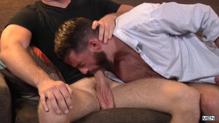 Brandon Evans coaxes Brendan Patrick into taking his dick