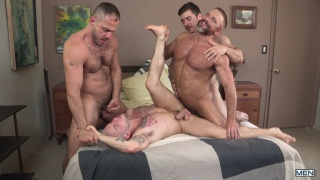 colton grey gets fucked by three hairy bears