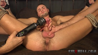 sexy Milos Ovcacek tied up and cock edged