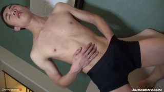 japanese guy with bushy pubes jacks off