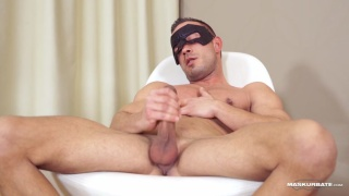 masked jock jerks his 9-inch cock