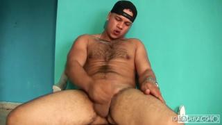 hairy-chested latino jerking